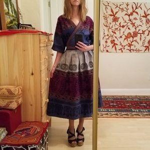 Vintage Ethnic Tribal Wrap Dress S-M
